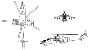 Russian Aerospae Forces Mil Mi-24 Hind gunship helicopter schematic