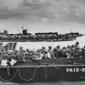 Utah Beach, US Army soldiers in LCVP with US Navy USS Joseph T Dickman, 6 June 1944 [edit1180]