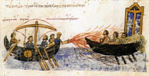 Fig. 7: Detail from the Madrid Skylitzes codex from the 12th century (Bibliteca Nacional de Madrid, Vitr. 26-2, Bild-Nr. 77, f 34 v. b.), showing Greek fire in use against the fleet of the rebel Thomas the Slav (adopted from Pászthory 1986: 31).