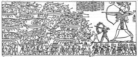 Fig. 3: Relief from Medinet Habu, depicting the Battle of the Delta (adopted from Erman & Ranke 1923: 648; Cornelius 1987).
