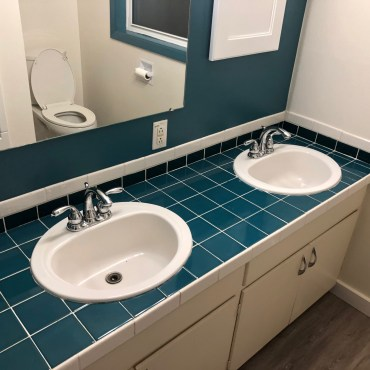 Beautiful blue tile double vanity