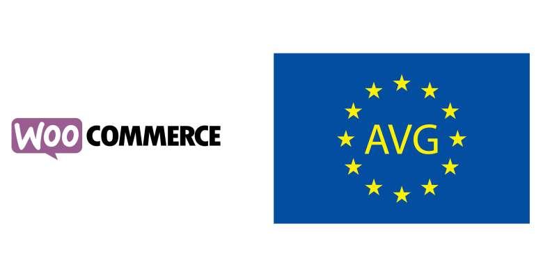 Afbeelding van het logo van WooCommerce met rechts van het logo de Europese vlag met daarop de letters AVG.