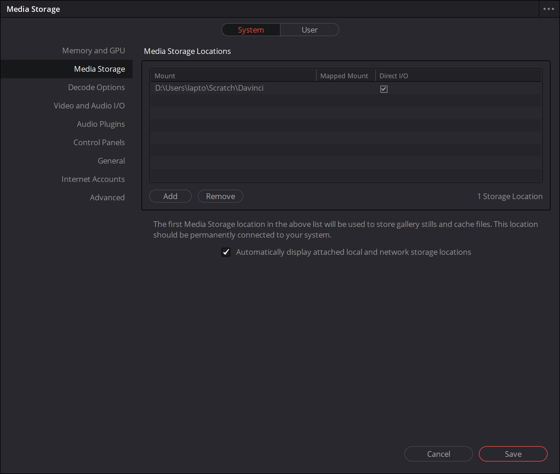 Een snelle ssd (het liefst een m.2) kiezen als schijf voor de cache en de stills (thumbnails en andere afbeeldingen) helpt bij de snelheid waarmee je met DaVinci Resolve kan werken.