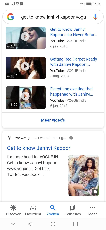 SERP Janhvi Kapoor web story Vogue India. Het valt niet mee om een web story tegen te komen in Google.