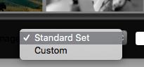 Dropdown menu onderaan het SpyderProof-scherm. Hier kan worden gekozen welke foto's worden gebruikt voor de SpyderProof.
