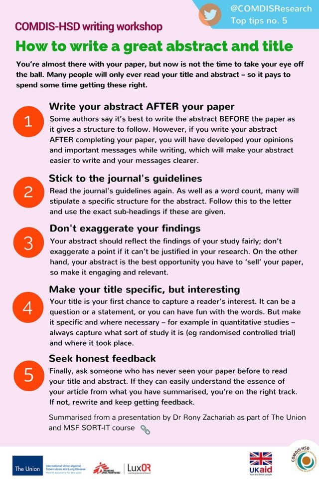 Top tips 24: How to write a great abstract and title - COMDIS