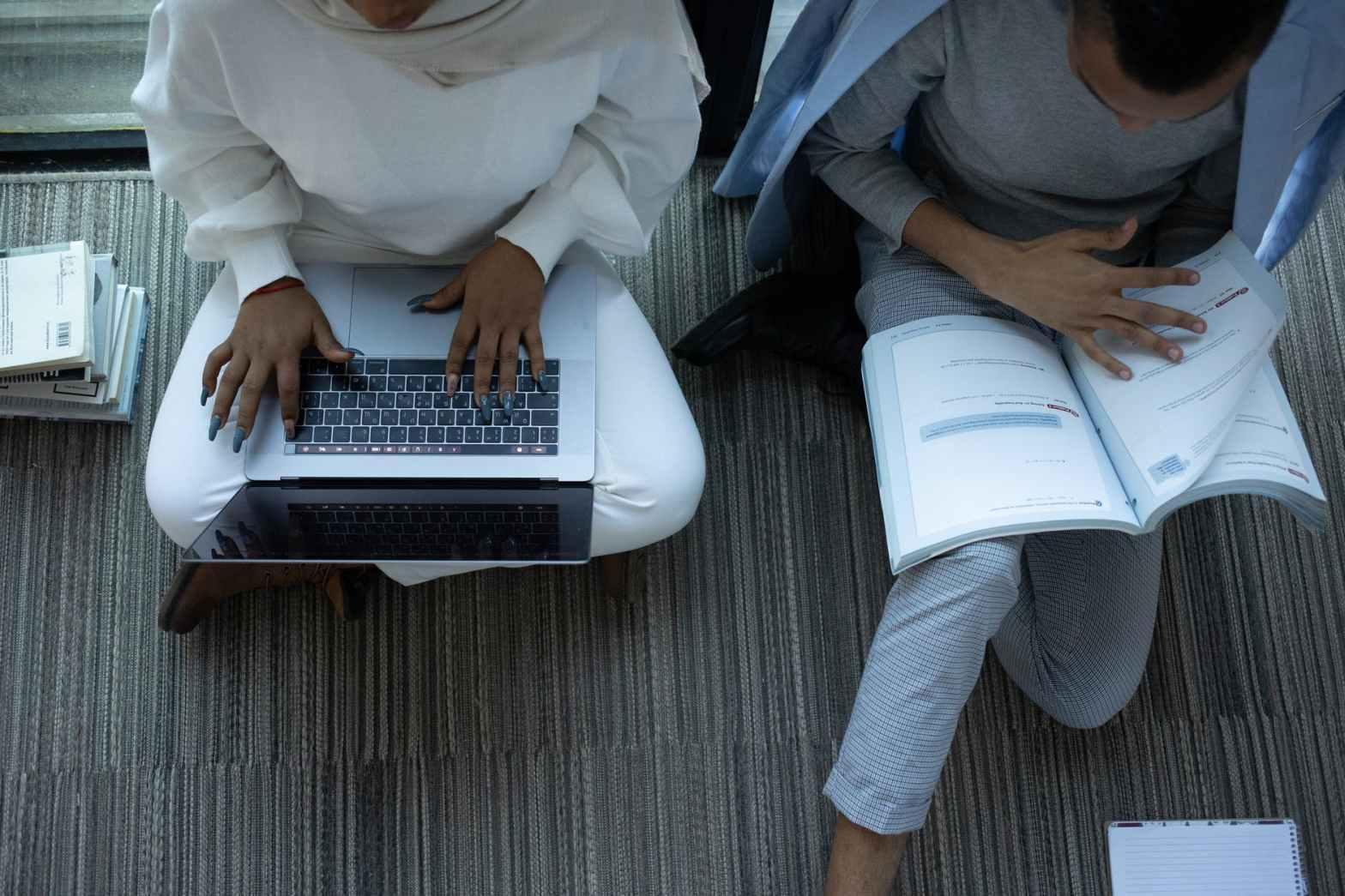 black diligent students doing studies together