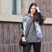 Patchwork Denim Jacket and Biker Boots