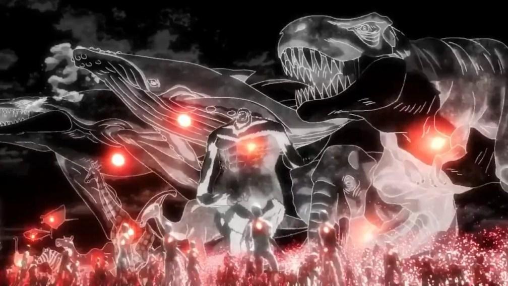 Attack On Titan blue whale, T-Rex