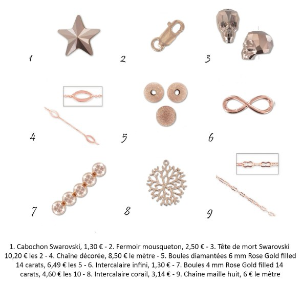 accessoires doré rosé perles and co