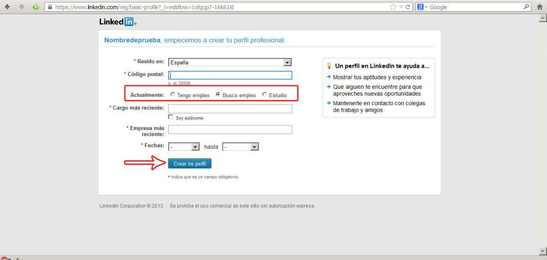 crear perfil en linkedin 2