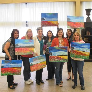group painted a landscape of poppy fields