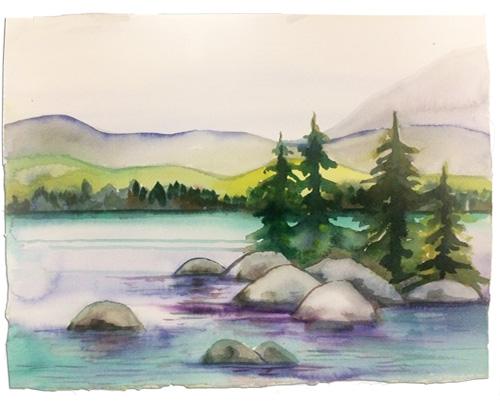 Tahoe Shores Watercolor Class