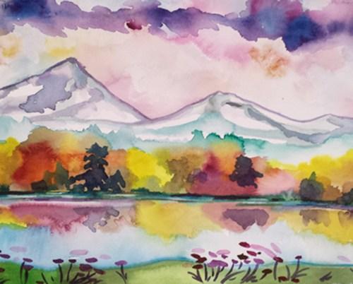 Fall Reflections watercolor by Julia Ward
