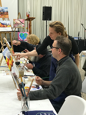 painting instructor offers tips in painting class