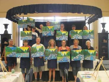Fun paintings of the yuba in Grass Valley paint and wine class