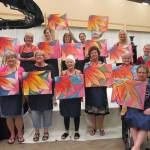 Painting class flowers blooming beautifully