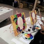 Acrylic painting in wine and paint class