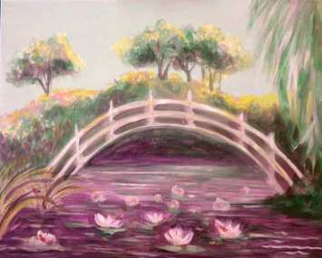 Lily pads under a bridge