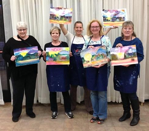 Mountain sunrise painting group