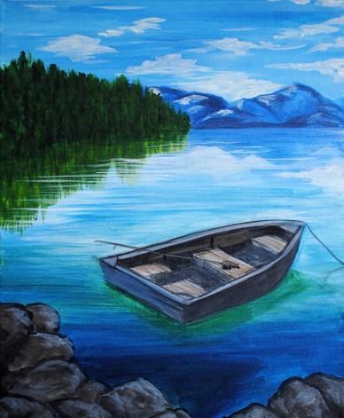 boat on lake painting acrylic