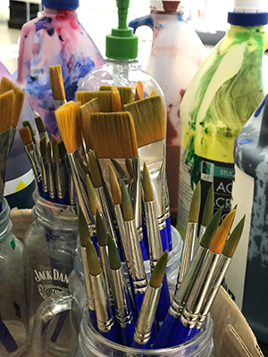 Painting supplies ready for a fun class
