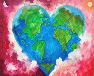 heart world painting acrylic