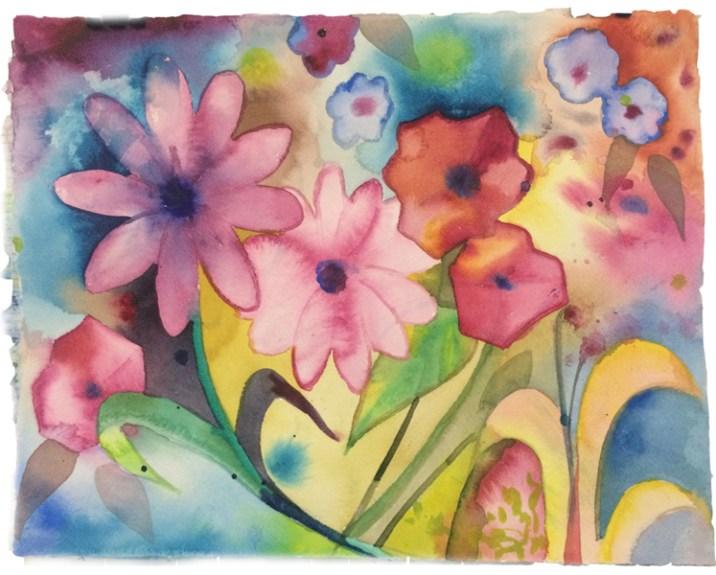 Spring flowers, watercolor