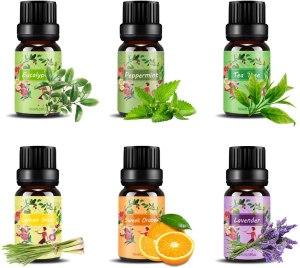 Set de aceites esenciales,100% Natural Puro Aromaterapia Aceite Aromático,6 x 10 ml (Lavanda, Hierba de Limón, Menta, Eucalipto, Árbol de té, Naranja dulce) para Humidificador y Difusor Aroma