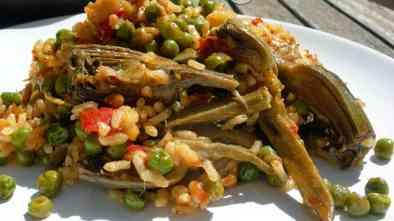 arroz con verdura y bacalao