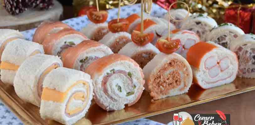 rollitos de pan de molde variados