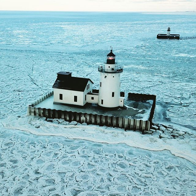 Enjoy the winter with my #dji #drone #lighthouse by #cleveland #lakeerie