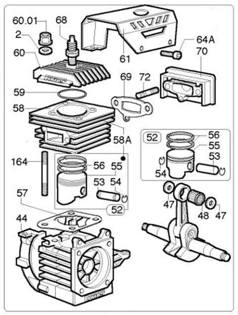 K-80 Top End Parts :: Comer K-80 Engine Parts :: 2-Cycle