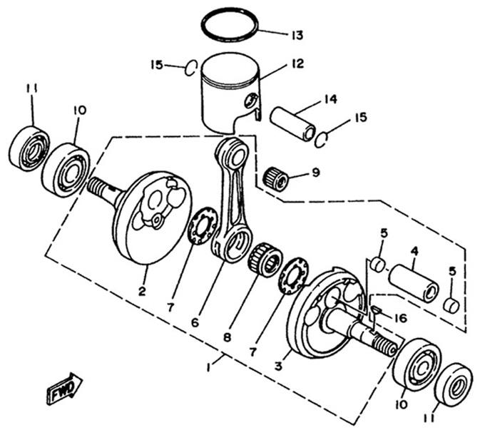 Yamaha Crank and Piston Parts :: Yamaha KT100 Engine Parts