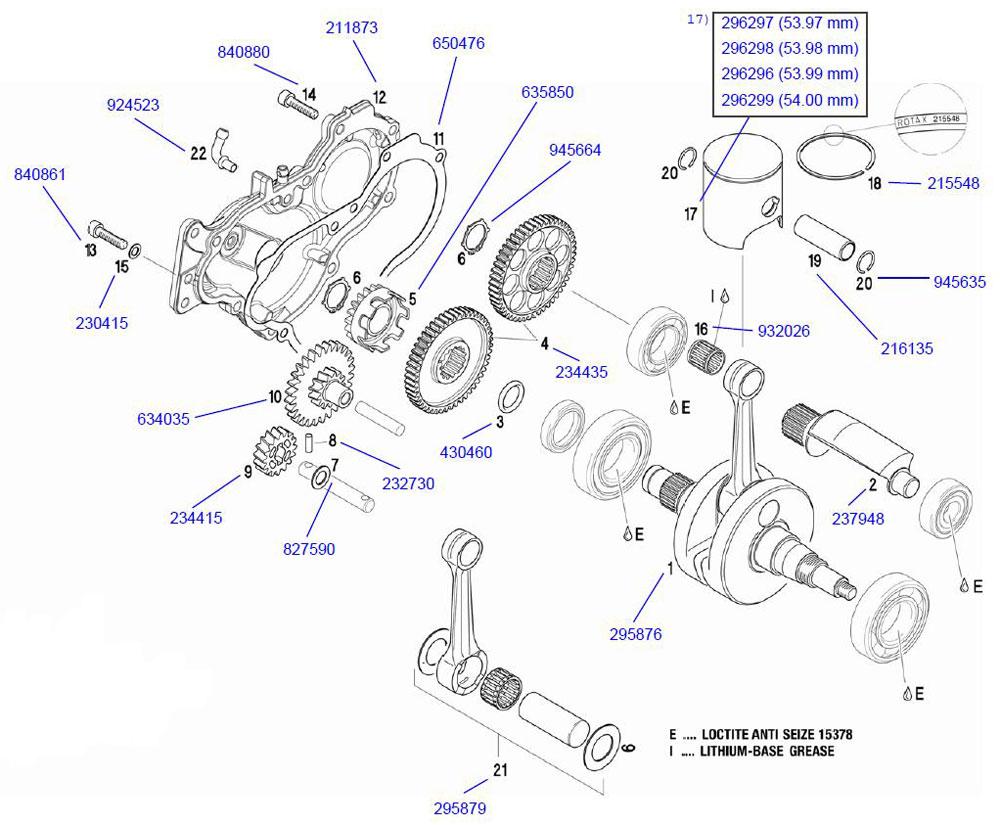 18. 215548 Rotax Piston Ring :: Rotax Crank and Piston