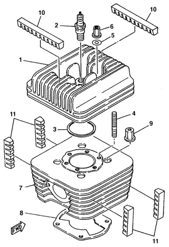 7. 787-11311-02 Yamaha Cylinder :: Yamaha Head and