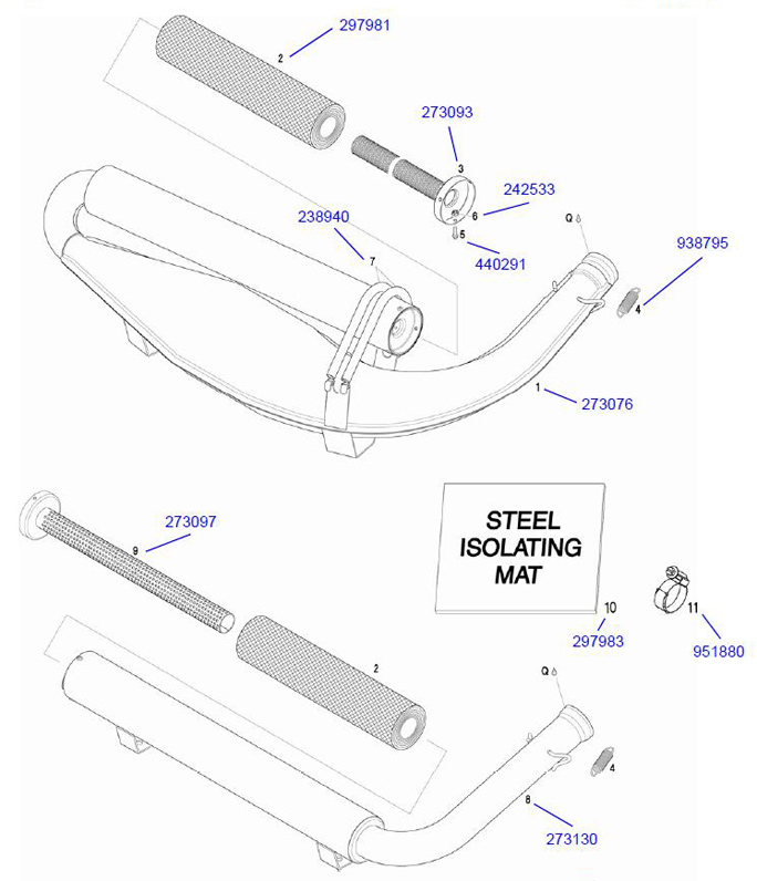 5. 440291 Rotax M4x12 Hex Collar Bolt :: Rotax Exhaust