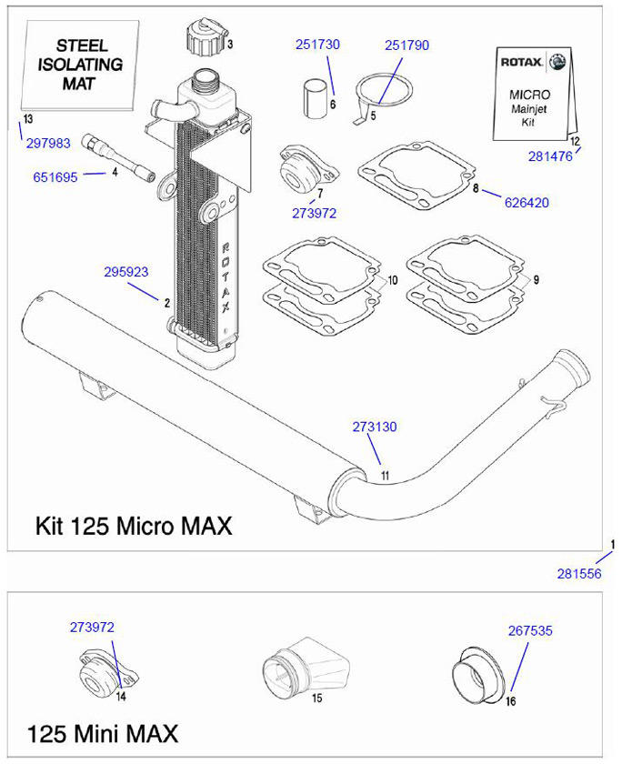 12. 281476 Rotax MicroMax Jet Kit (7 Jets) :: Rotax Micro