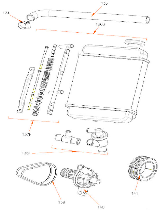140. (861) Rok TT Water Pump :: Rok TT Radiator Parts