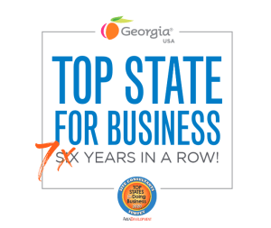 Icon that says Georgia named Top State for Business 7 years in a row