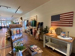 Inside outdoor retail store with with items for sale