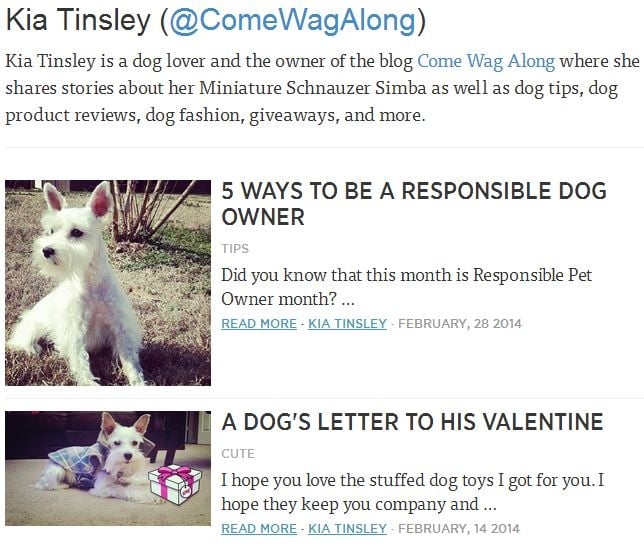 3milliondogs.com - articles by Kia Tinsley