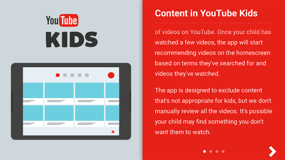 Content in YouTube Kids App