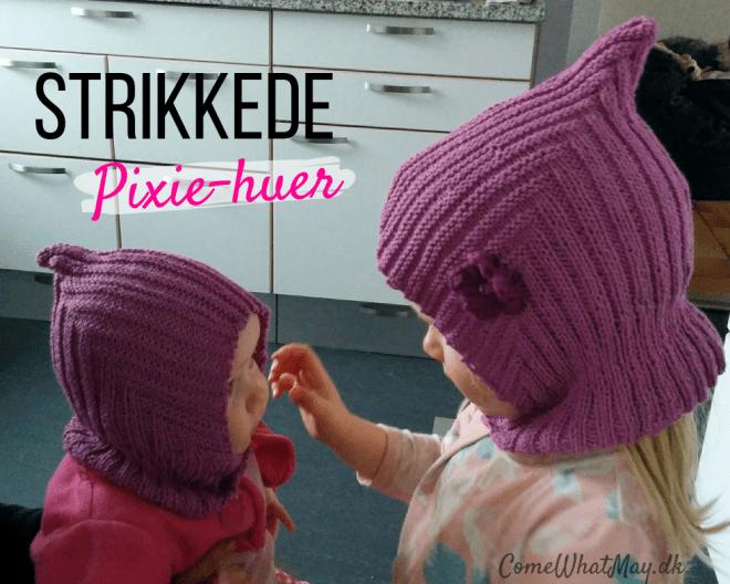 Find her en guide til strikket pixiehue | pixie hue | elefanthue