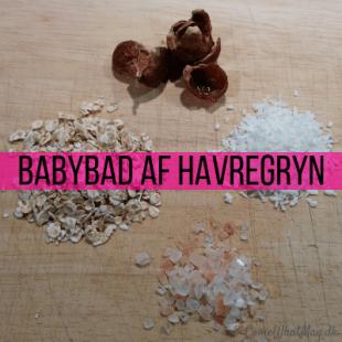 DIY babybad af havregryn, salt, kokos og sæbenødder