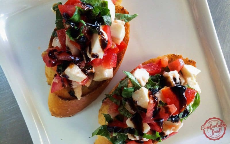 Simple and easy caprese bruschetta recipe.