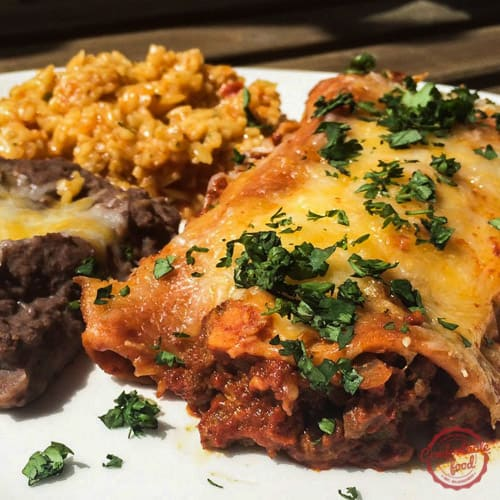 Quick and easy beef enchilada recipe.