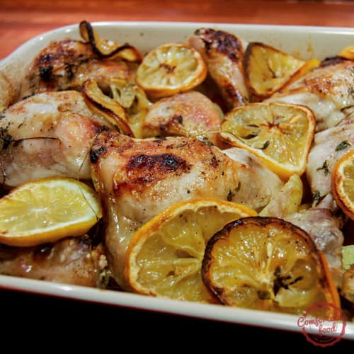 A simple recipe for roasting chicken with lemon and vegetables.
