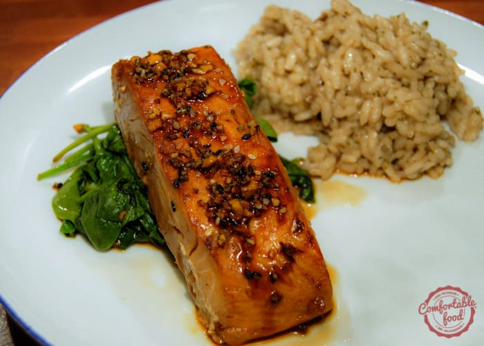 A recipe for broiled salmon with honey and soy.