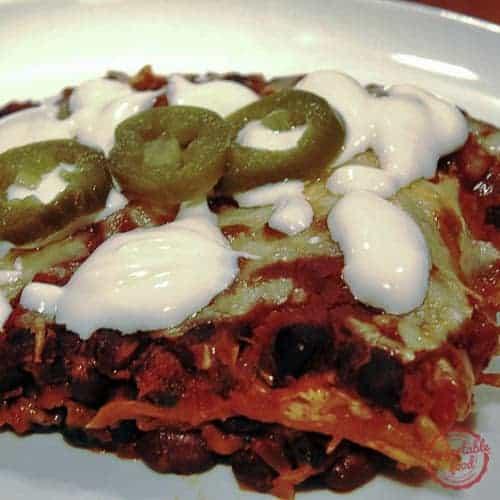 A Latin inspired vegetarian black bean casserole recipe.